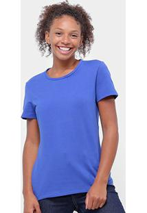 Camiseta Baby Look Malwee Básica Feminina - Feminino-Azul