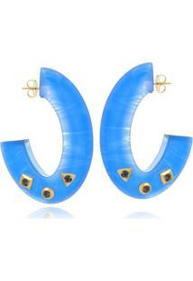 Argola Le Diamond Acrilico Com Tachas Azul - Azul - Feminino - Dafiti