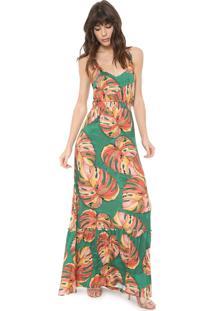 Vestido Triton Longo Folhagem Verde