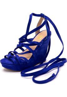 Sandalia Anabela Gladiadora Dia A Dia Ellas Online Azul - Tricae