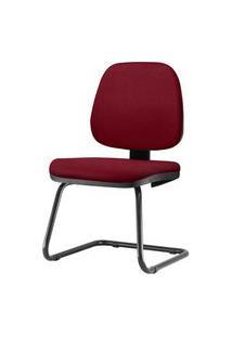 Cadeira Job Assento Crepe Vinho Base Fixa Preta - 54560 Vinho