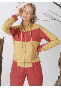 Jaqueta Em Tecido Com Zíper Amarelo