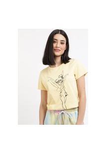 Blusa Feminina Tinker Bell Manga Curta Decote Redondo Amarela