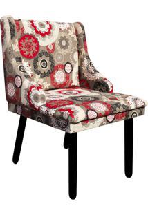Cadeira Sala De Jantar Liz Estampado Floral D32 Pés Tabaco - D'Rossi