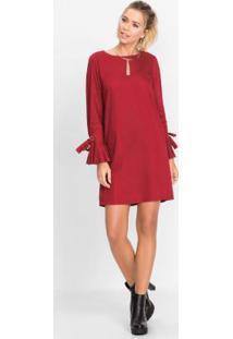 Vestido Curto Com Laços Vermelho