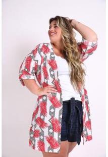 Kimono Kaue Plus Size Folhagem Feminina - Feminino-Vermelho