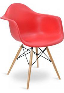 Cadeira Com Braços E Pés Em Madeira Flórida Siena Móveis Vermelho