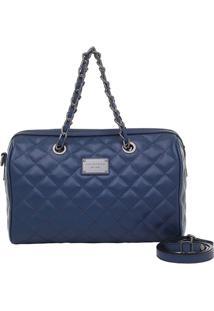 Bolsa Baú Smartbag Couro Matelassê Navy - Feminino-Azul