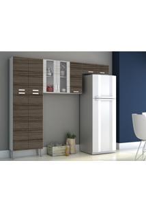 Cozinha Compacta Alfa 9 Portas Dubai/Rovere - Kits Paraná