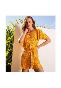 Macaquinho Feminino Floral Endless Amarelo