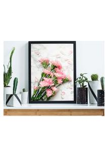 Quadro Decorativo Com Moldura Beautiful Flowers Preto - 20X30Cm