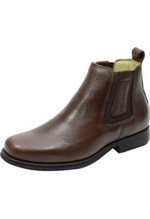 Botina Ultra Gel Flex Atron Shoes 453 Couro Café
