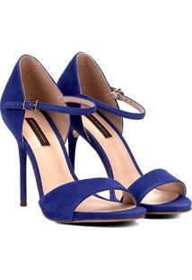 Sandália Couro Jorge Bischoff Salto Fino Suede Feminino - Feminino-Azul Escuro