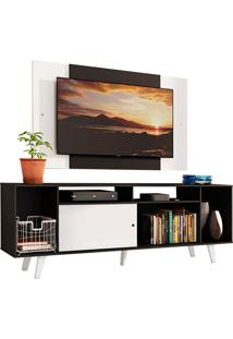 Rack Madesa Cancun E Painel Para Tv Até 58 Polegadas Com Pés - Preto/Branco 77C7 Preto