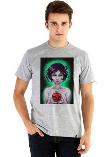 Camiseta Ouroboros Manga Curta Branca De Neve Masculina - Masculino-Cinza