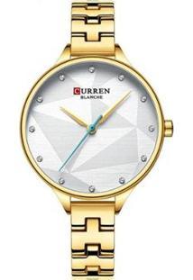 Relógio Curren Analógico C9047L Feminino - Feminino-Dourado