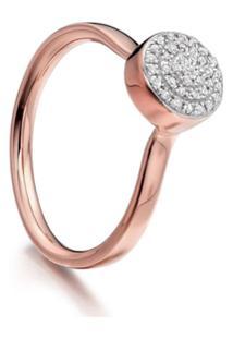 Monica Vinader Anel Com Diamante 'Fiji Button' - Dourado