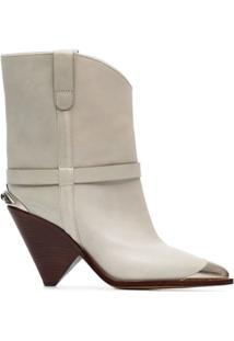 Isabel Marant Ankle Boot 'Lamsy 90' De Couro - Branco
