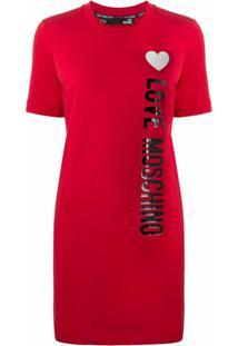 Love Moschino Vestido Reto Com Logo Lateral - Vermelho