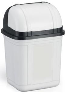 Lixeira Para Cozinha Tampa Retrã¡Til Plã¡Stico Branco 4 Litros - Transparente - Dafiti