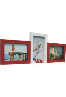 Porta-Retrato Love Iv 3 Fotos 10X15Cm Branco, Vermelho Kapos