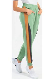 Calça Feminina Em Molecotton Com Bolso Verde