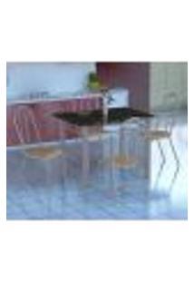 Conjunto De Mesa Genova Com 4 Cadeiras Alicante Branco Prata E Nature Bege