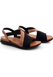Sandália De Salto Baixo E Couro Usaflex