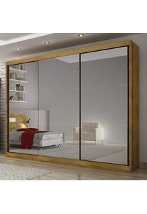 Roupeiro Údine Com 3 Espelhos Móveis Novo Horizonte Freijó Dourado