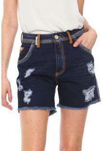 Bermuda Jeans Lança Perfume Reta Pespontos Azul-Marinho