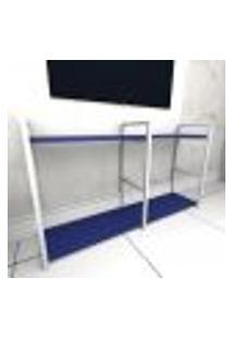 Rack Estilo Industrial Aço Cor Branco Mdf 30Cm Cor Azul Escuro Modelo Indb13Azrk