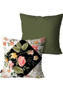 Kit Pump Up Com 2 Capas Para Almofadas Decorativas Verde Flores 45X45Cm