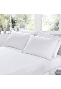 Jogo Cama Casal 4Pçs Branca Percal 200 Fios Fassini Têxtil