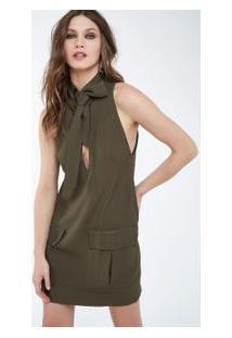 Vestido Box Gola Ilhós Verde Militar