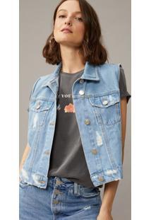 Colete Amaro Jeans Com Leves PuãDos Azul Claro - Azul - Feminino - Dafiti