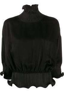 Givenchy Blusa Gola Alta Com Babados - Preto