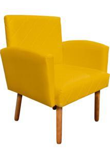 Poltrona Decorativa Veronês Para Sala E Recepção Corino Amarelo - D'Rossi