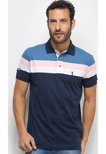 Camisa Polo Aleatory Fio Tinto Bicolor Masculina - Masculino-Azul+Rosa