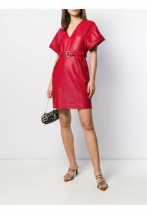 Pinko Vestido Com Cinto - Vermelho