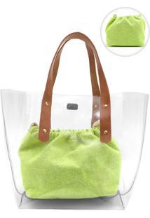 Bolsa Luiza Barcelos Transparente Verde