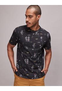 Camiseta Masculina Estampada De Esqueletos Manga Curta Gola Careca Preta