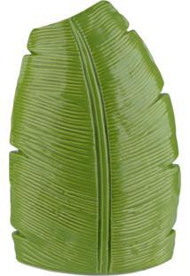 Vaso Medio Ceramica Folha De Banana Verde - Lojas Carisma