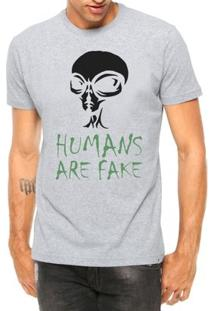 Camiseta Criativa Urbana Frases Et Alien Humans Are Fake Manga Curta - Masculino-Cinza