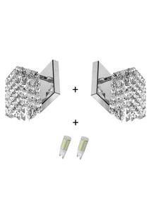 2 X Arandela De Cristal Legitimo Clearwall Com Lâmpadas 3000