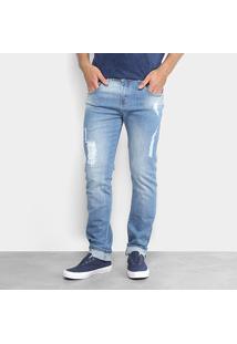 Calça Jeans Slim Zamany Rasgados Masculina - Masculino-Azul Claro