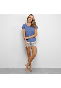 Pijama Lupo Camiseta Manga Curta + Shorts Listrado Feminino - Feminino-Azul