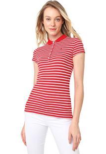 Camisa Polo Tommy Hilfiger New Chiara Vermelha/Branca