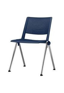 Cadeira Up Assento Azul Base Fixa Cromada - 54308 Azul