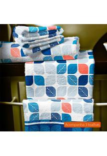 Kit Com 3 Toalhas De Banho Azul E Cinza
