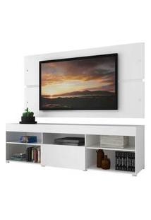Rack Com Painel Para Tv Até 65 Polegadas Madesa Havaí 1 Porta Branco